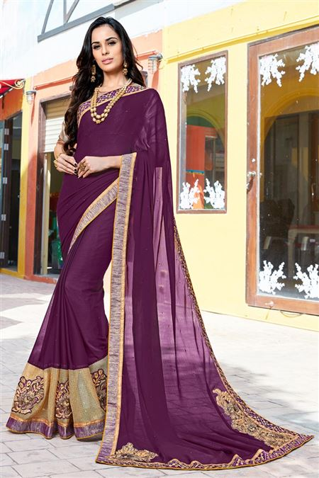 Party Wear Purple Color Fancy Fabric Saree