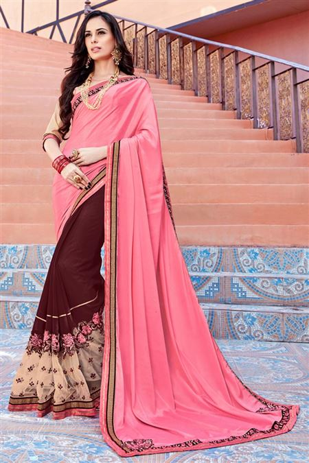 Party Wear Pink And Brown Color Fancy Fabric Saree