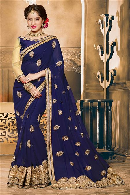 Deepika Singh Blue Color Designer Saree