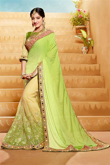 Green Color Party Wear Saree With Georgette Fabric