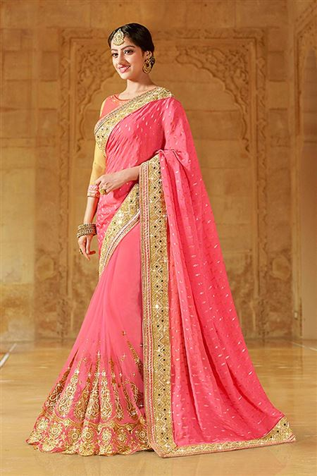Pink Color Party Wear Designer Saree