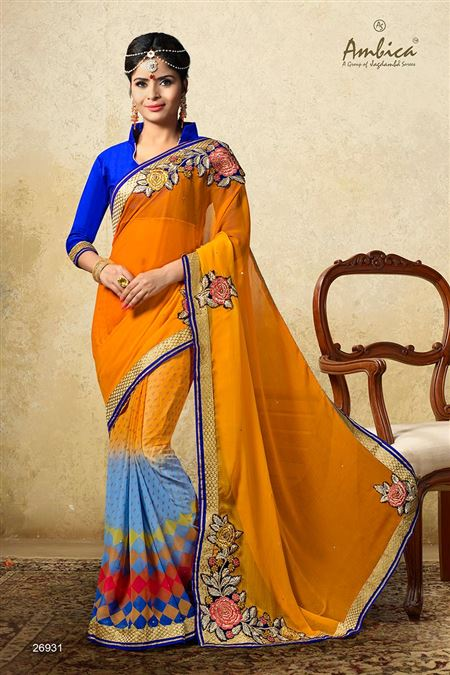 Beautiful Yellow Color Chiffon Casual Wear Saree