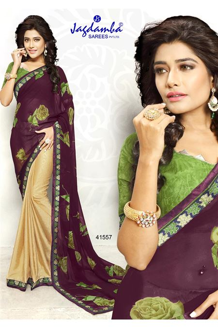 Purple And Cream Color Casual Wear Printed Saree