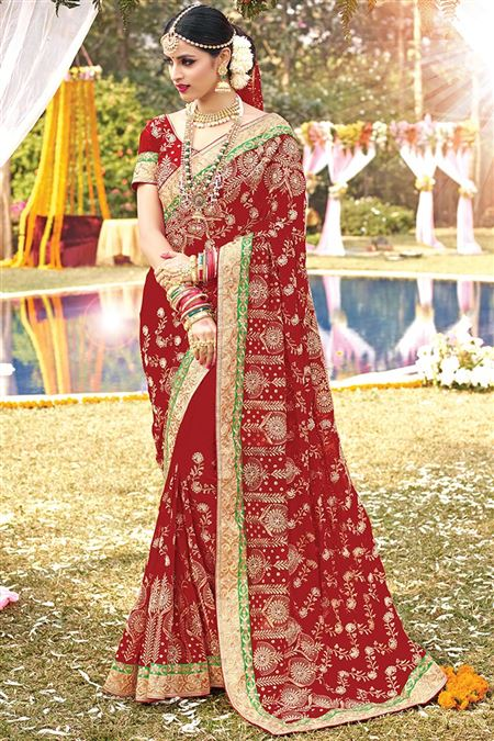 Wedding Wear Red Color Designer Saree